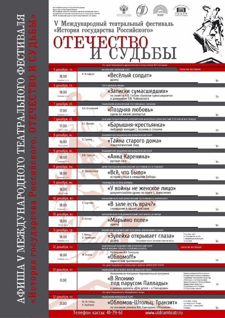 V Международный театральный фестиваль «История Государства Российского. Отечество и судьбы»