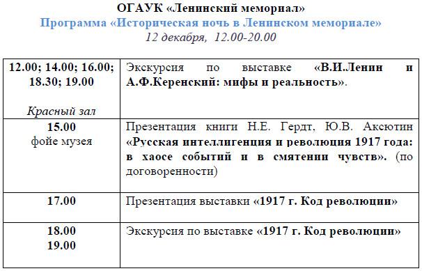 «Историческая ночь» в Ленинском мемориале @ Ленинский мемориал (пл. 100-летия со дня рождения В.И. Ленина, д. 1)
