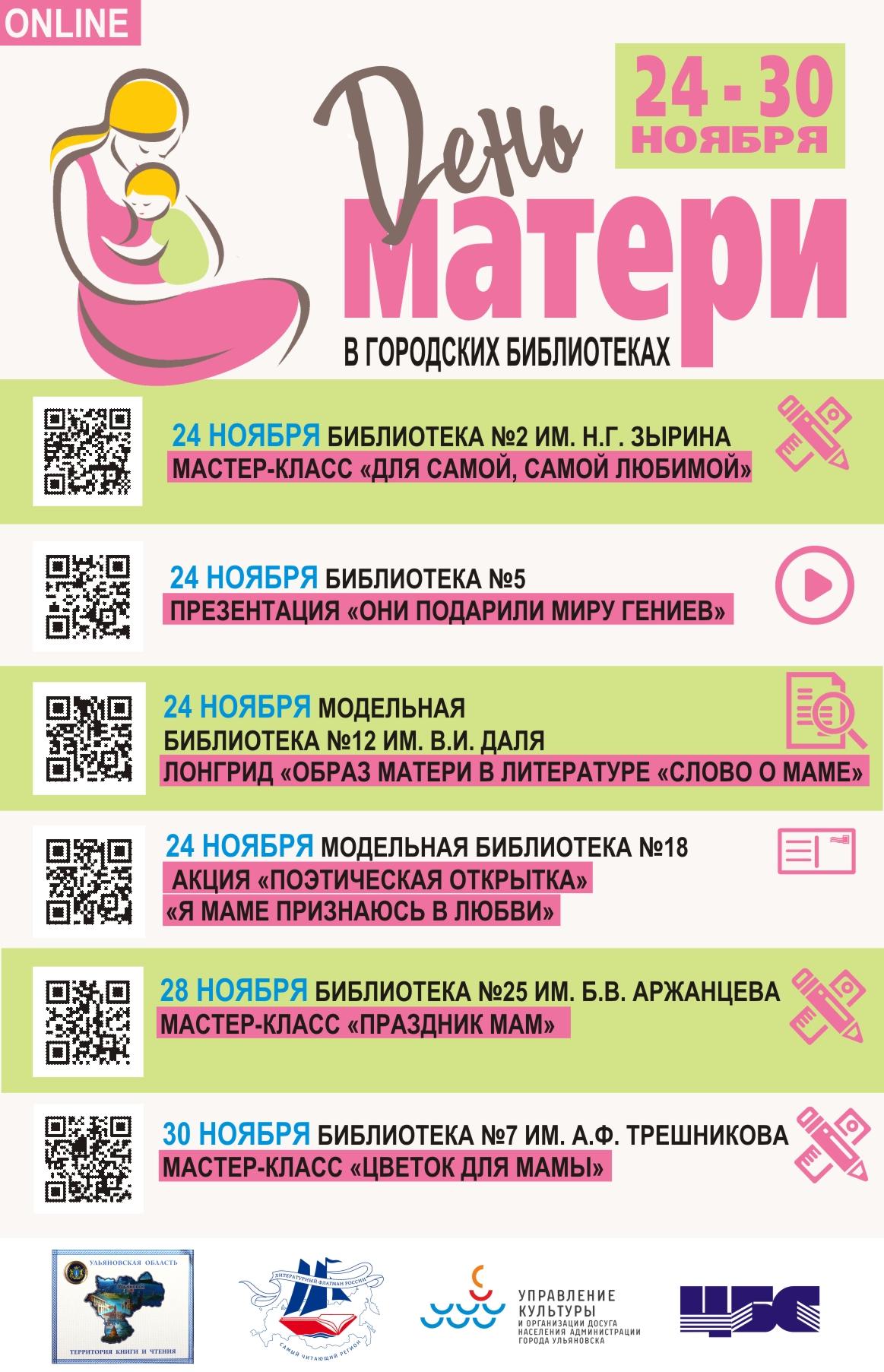 День матери в библиотеках города, праздничная онлайн-программа
