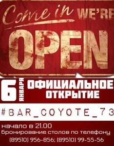 Вечеринка официального открытия бара «COYOTE» @ Бар Coyote (ул. Радищева, д. 53)