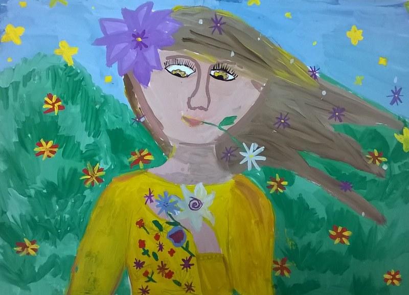 г. Ульяновск, Козлова Юлия, 11 лет, Девочка -весна, ДШИ ¦6, бумага,гуашь, 210х297