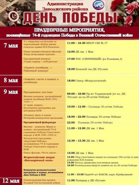 День Победы в заволжском районе, программа